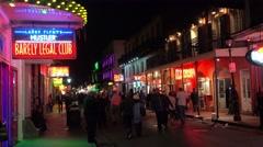 Establishing shot of Bourbon Street in New Orleans at night. Stock Footage