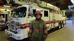 Portrait of a young fireman, Handheld  Stock Footage