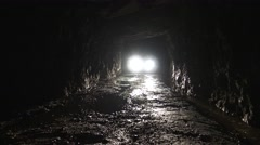 Light from the truck in the tunnel. Stock Footage