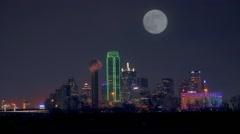 Dallas skyline city  night time super moon lapse Arkistovideo
