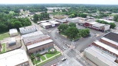 Small Town Square Drone Flyover Stock Footage