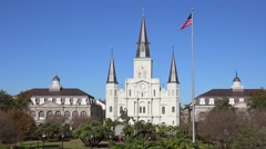 Beautiful Jackson Square and St. Louis cathedral in New Orleans, Louisiana. Stock Footage