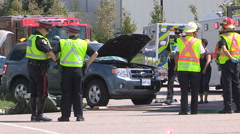 Car crash and accident scene in city intersection Stock Footage