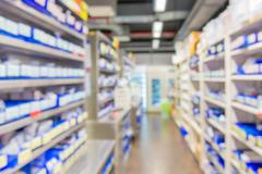 Blur of drugs in the pharmacy store Kuvituskuvat