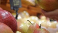 Fresh Organic Fruit Pear Display in Farmer's Market Stock Footage