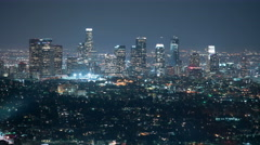 8K Los Angeles Skyline 72 Night Time Lapse Griffith Park Stock Footage