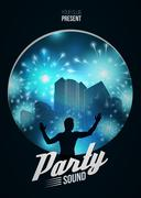 Party Dance Poster Background Template with DJ silhouette on blue urban  - Stock Illustration