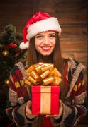 Beautiful girl holding a present near New Year tree Stock Photos