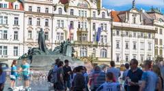 Jan Hus Memorial timelapse designed by Ladislav Saloun in Old town square in Stock Footage