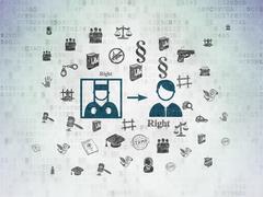 Law concept: Criminal Freed on Digital Data Paper background Stock Illustration