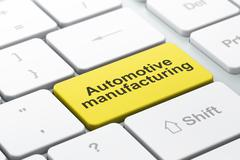 Industry concept: Automotive Manufacturing on computer keyboard background Stock Illustration