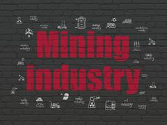 Manufacuring concept: Mining Industry on wall background Piirros