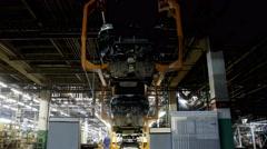 Car conveyor.Time lapse Stock Footage
