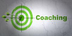 Learning concept: target and Coaching on wall background Stock Illustration