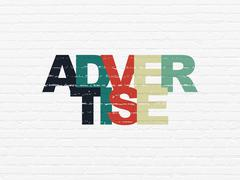 Advertising concept: Advertise on wall background Stock Illustration