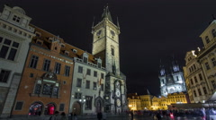 Night time illuminations of the the Old Town Hall timelapse hyperlapse, Town Stock Footage
