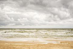 Stormy sea and cloudy sky Stock Photos