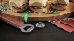 Sliders with veggie tray on the table for the football party. Stock Footage