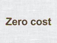 Business concept: Zero cost on fabric texture background Stock Illustration