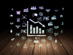 Business concept: Decline Graph in grunge dark room Stock Illustration