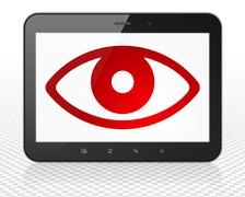 Protection concept: Tablet Pc Computer with Eye on display Stock Illustration