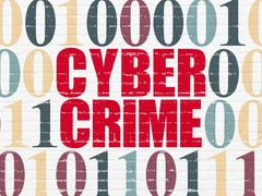 Safety concept: Cyber Crime on wall background Stock Illustration