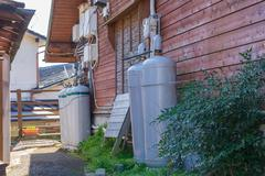 Gas tank for household in winter at japan Stock Photos