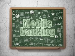Banking concept: Mobile Banking on School board background Stock Illustration