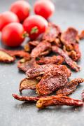 Tasty dried tomatoes Stock Photos