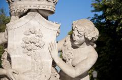 Detail of Artichoke Fountain, Retiro Park, Madrid, Spain Stock Photos