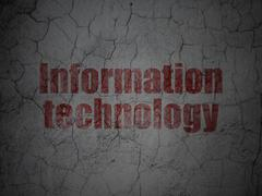 Information concept: Information Technology on grunge wall background Stock Illustration
