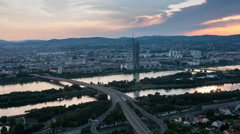 Panoramic view to the city sunset in Vienna Stock Footage