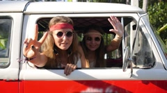 Young Happy Travel Youth - Hippie Woman in Vintage Bus Stock Footage