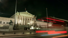 Night view of the parliament in Vienna Stock Footage