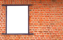 Blank billboard on brick wall for new advertisement Stock Photos