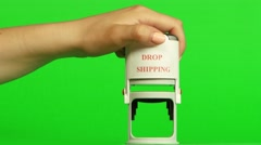 White stamp drop shipping. Close up. Green screen Stock Footage
