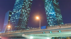 The CCTV headquarters in Beijing at night. Stock Footage