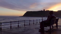 SCARBOROUGH CASTLE SUNRISE SCARBOROUGH MARINE Stock Footage