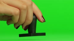 Stamp. Close up. Green screen Stock Footage