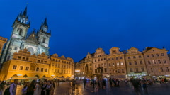 Night time illuminations of the magical Old Town Square timelapse in Prague Stock Footage