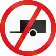 Road sign used in the African country of Botswana - Towed vehicles prohibited Stock Illustration