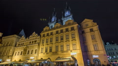 Night time illuminations of the magical Old Town Square timelapse hyperlapse in Stock Footage