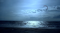 Kitesurfing. water sports. Baltic Sea at sunset Stock Footage
