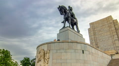 Equestrian Statue of Jan Zizka timelapse hyperlapse at Czech National Museum in Stock Footage