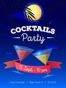 Vector cocktails party poster with night beach landscape. Moon, palm trees an Piirros