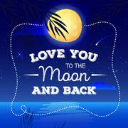 Vector cartoon landscape with romantic quote I love you to the moon and back. Stock Illustration
