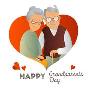 Grandparents Day vector design template. Illustration with grandfather and gr Stock Illustration