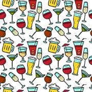 Vector doodle drinks seamless pattern. Beverages bright background. Piirros