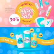 Vector bright newborn accessories banners design templates. Baby goods sale v Stock Illustration
