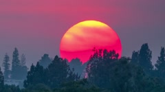 Big sunset sun in red sky setting over Hollywood Hills timelapse background Stock Footage